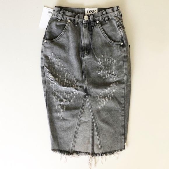 One Teaspoon Dresses & Skirts - One Teaspoon Phantome Cadillac Gray Jean Skirt 23